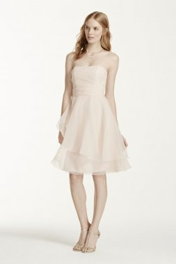 Short Strapless Organza Dress with Full Skirt Style F15902