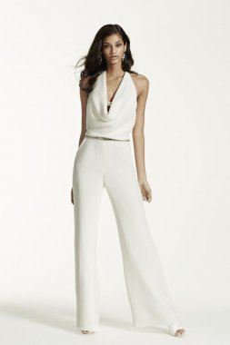 Ivory Wedding Jumpsuit with Cowl Neck Style SRL682