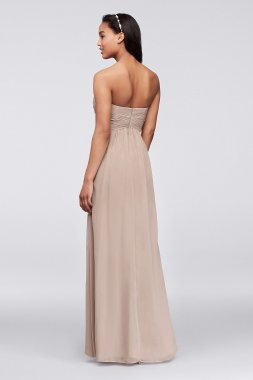 Long Strapless Chiffon Dress with Pleated Bodice Style F15555