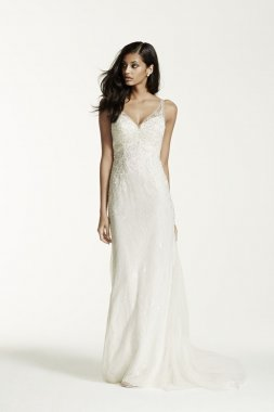 Petite Lace Sheath Gown with V Neckline Style 7SWG675