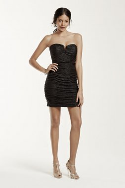 Strapless Short Ruched Foil V-Bar Dress Style 231M58670