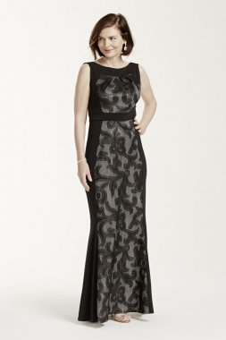 Sleeveless Long Jersey Dress with Bonded Lace Style AWHGC93