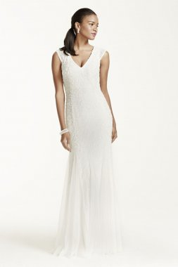 Cap Sleeve Beaded Sheath Gown with Godets Style 054464250
