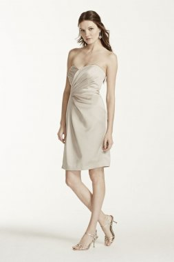 Strapless Satin Short Dress with Pleating Style F15103