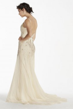 Extra Length Net Wedding Dress with Straps Style 4XLMS251111