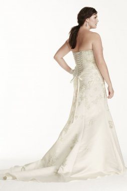 Sweetheart Satin Strapless Gown with Lace Applique Style 9OP1246