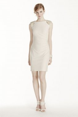 Short Jersey Dress with Cutout Pearl Shoulders Style 231M68710