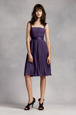 LIMITED AVAILABILITY!-Short Pleated Crinkle Chiffon Dress Style VW360222