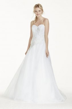 Extra Length Strapless Tulle Ball Gown with Lace Style 4XLWG3740