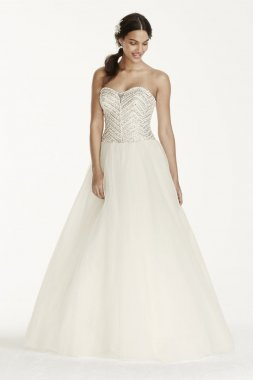 Extra Length Tulle Ball Gown with Crystal Bodice Style 4XLWG3754