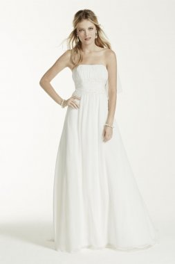 No Train Chiffon Gown with Beaded Lace on Waist Style NTV9743