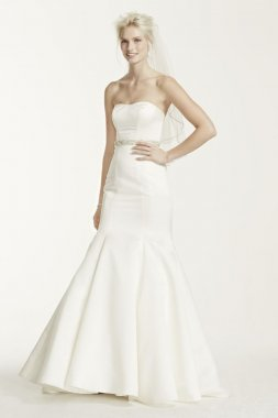 Extra Length Satin Trumpet Gown with Seam Details Style 4XLKP3738