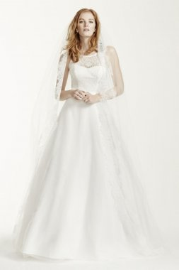 Extra Length Lace A-line Gown with Tulle Skirt Style 4XLWG3711