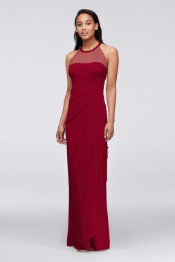 Long Mesh Dress with Illusion Neckline Style F15662
