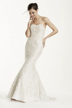 Extra Length Trumpet Sequin Gown with Gold Lace Style 4XLSWG605