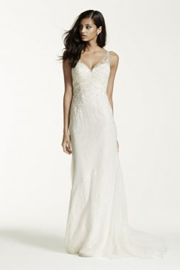 Extra Length Lace Sheath Gown with V Neckline Style 4XLSWG675