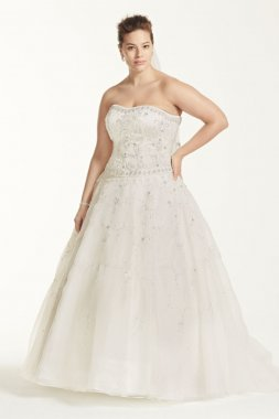 Extra Length Satin and Organza Wedding Dress Style 4XL8CT258