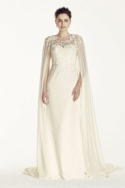 Crepe Wedding Dress with Chiffon Cape Style CWG716