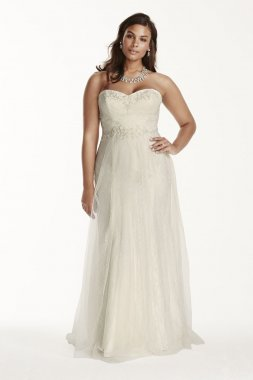 Strapless Tulle Over Lace Sheath Gown Style 9WG3750