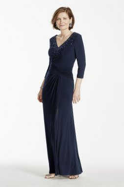 3/4 Sleeve Long Jersey Dress with Beaded Bodice Style 262330I