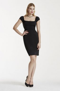 Cap Sleeve Short Faille Dress with Dart Detailing Style ZP281595