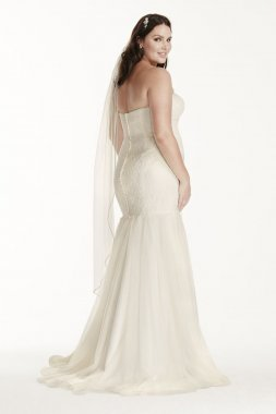 Extra Length Lace Trumpet Gown with Tulle Skirt Style 4XL9KP3765