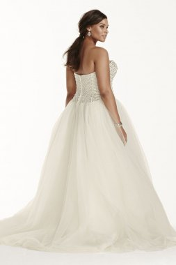 Extra Length Tulle Ball Gown with Crystal Bodice Style 4XL9WG3754