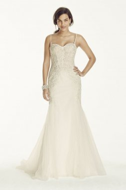 Spaghetti Strap Trumpet Gown with Corset Bodice Style 7SWG690