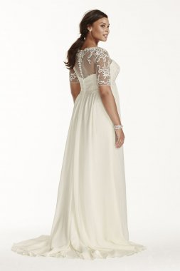 Extra Length Chiffon Sheath with Illusion Sleeves Style 4XL9WG3749