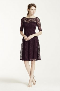 Short Lace Dress with Illusion Neck and Sleeves Style F15721