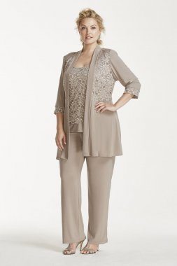 Mock Two Piece Lace and Jersey Pant Suit Style 7772W