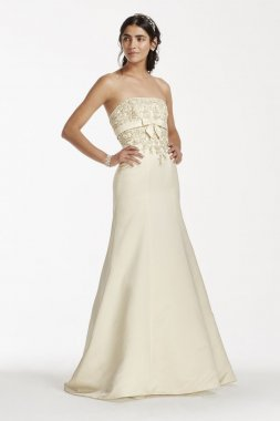Lace Trumpet gown with Beaded Metallic Lace Style OP1256