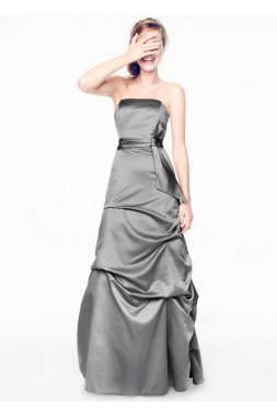 Strapless Satin Ballgown with Pick-up and Sash Style 81123