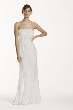 Allover Beaded Lace Sheath Gown with Empire Waist. Style S8551