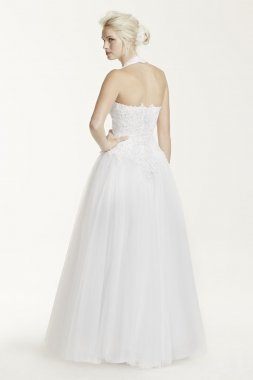 Tulle Ballgown with Satin Beaded Halter Bodice Style 6280