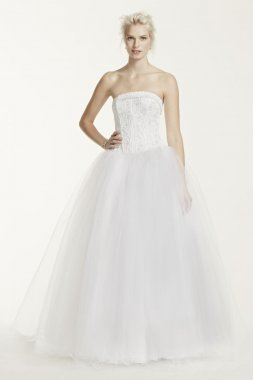 No Train Tulle Ball Gown with Beaded Satin Bodice Style NT8017