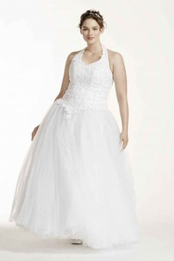 Tulle Ballgown with Satin Beaded Halter Bodice Style 96280