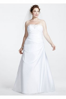 Satin Side-Draped A-Line Gown with Beaded Inset Style 9WG3153