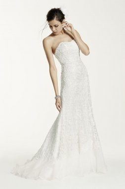 Lace Overlay Charmeuse Wedding Dress with Train Style SWG400