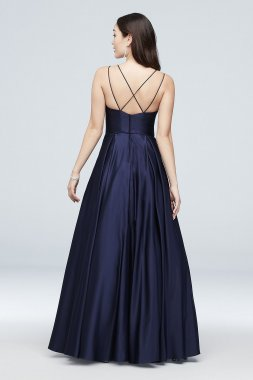 Jewel-Pocket Strappy Satin Ball Gown 1053BN