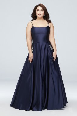Jewel-Pocket Strappy Satin Plus Size Ball Gown 1053BNW