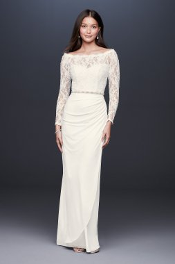 Off-the-Shoulder Long Sleeve Lace Draped Gown 184213DB