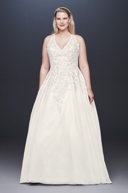 Organza Illusion Back Plus Size Wedding Dress 4XL9WG3936