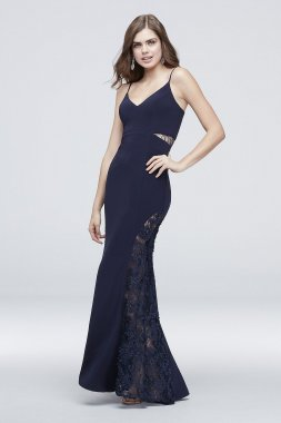 Lace Cutout Jersey Sheath with 3D Lace Hem A20351