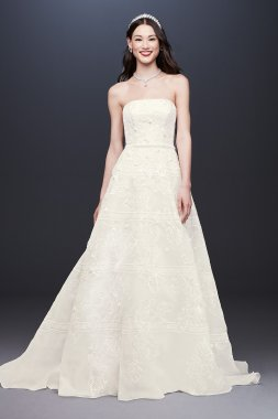 Organza Banded Wedding Dress with Sequin Appliques CWG812