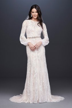 Bishop Sleeve Lace Sheath Wedding Dress MS251195