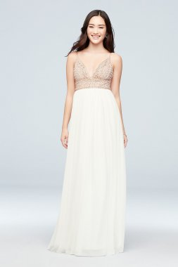 Chiffon A-Line Dress with Beaded V-Neck Bodice X36831DCA7