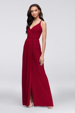 Double-Strap Long Georgette Bridesmaid Wrap Dress F19755