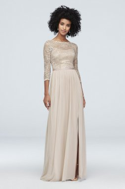 3/4-Sleeve Metallic Lace and Mesh Bridesmaid Dress Style F19908M