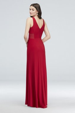 Illusion-Inset V-Neck Jersey Sheath Gown 12173D